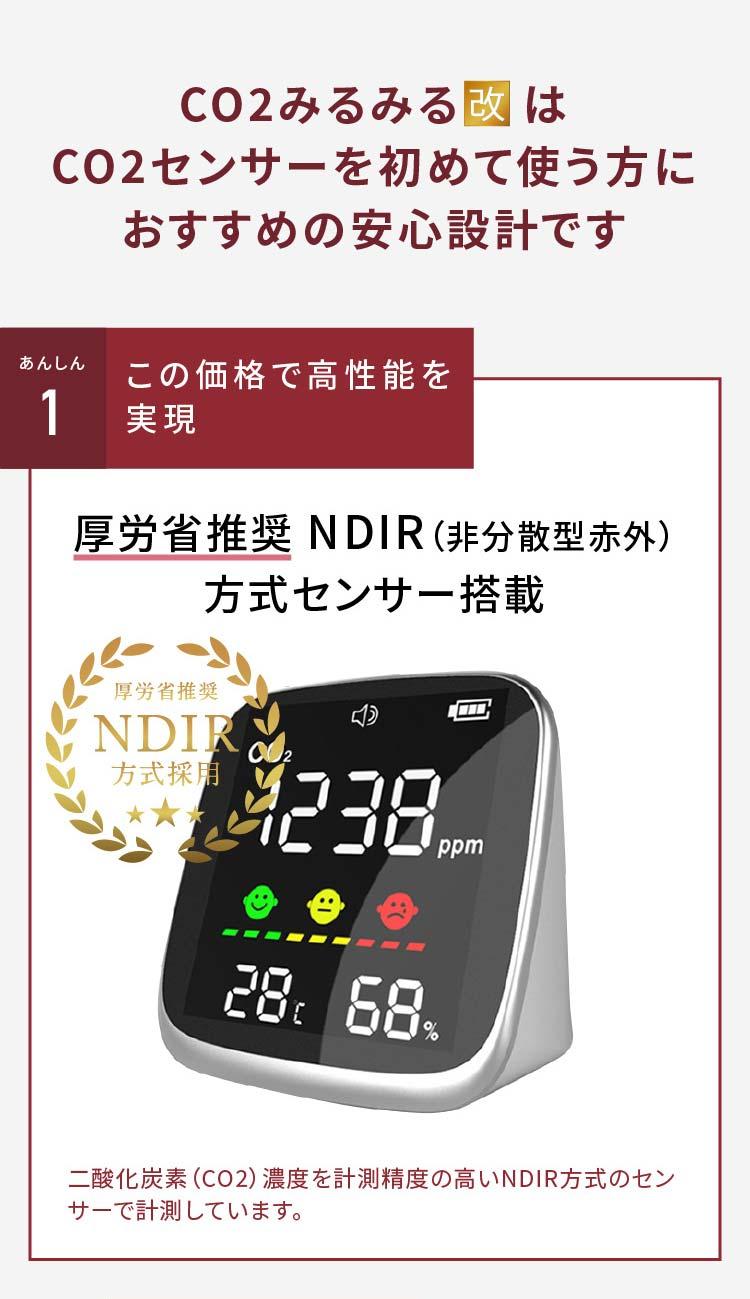 CO2みるみる(改)はNDIR方式センサーを採用しています。